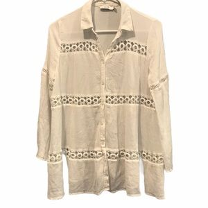Lush white embroidered button up boho blouse large